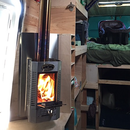 Vanlife Log Campervan Fireplace Test Run Salt Sugar Sea