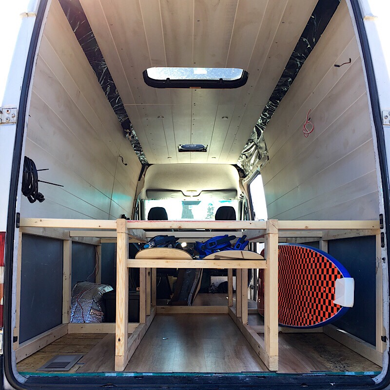 Sprinter Van Conversion Under Bed Storage Design